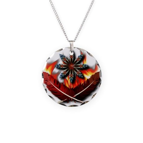 Native Red-Tailed Hawk Feathe Necklace Circle Char