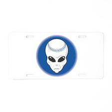 Baseball Alien Aluminum License Plate