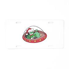 Christmas Alien Aluminum License Plate