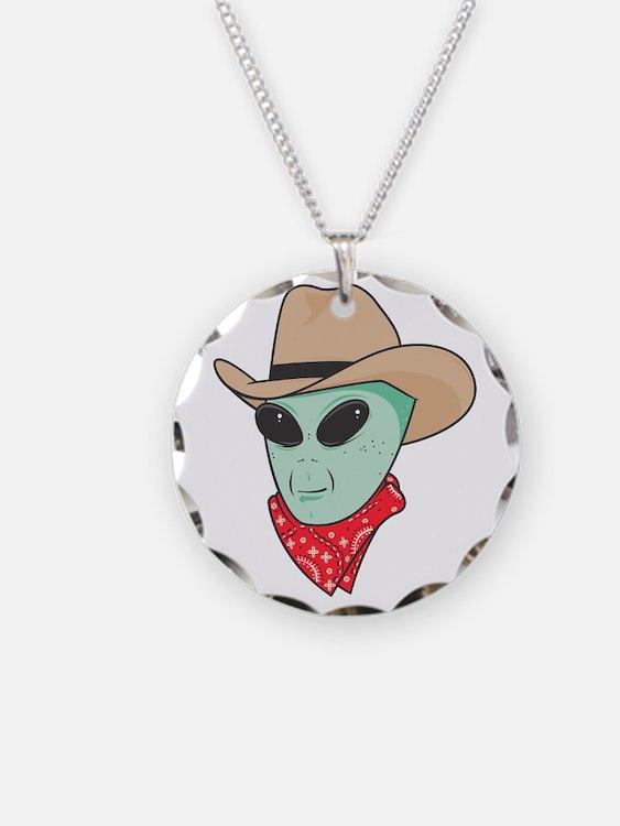 Cowboy Alien Necklace Circle Charm