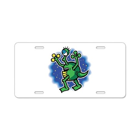 Cute One-Eyed Martian Aluminum License Plate