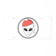 Fishing Alien Aluminum License Plate