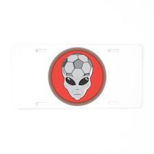 Soccer Alien Aluminum License Plate