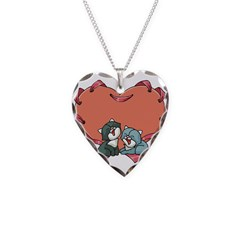 Valentine Laced Heart and Kit Necklace