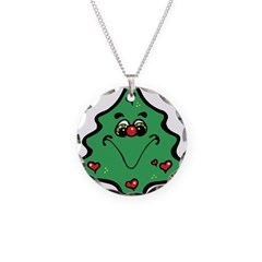 Cute Happy Christmas Tree Necklace