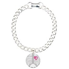 Broken Torn Heart in Ribcage Charm Bracelet, One C