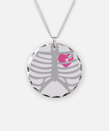 Broken Torn Heart in Ribcage Necklace Circle Charm