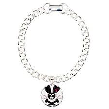 Evil Emo Bunny Crossbones Des Charm Bracelet, One