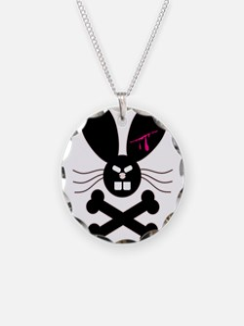 Evil Emo Bunny Crossbones Des Necklace Circle Char