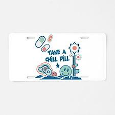 Chill Pill Retro Collage Desi Aluminum License Pla