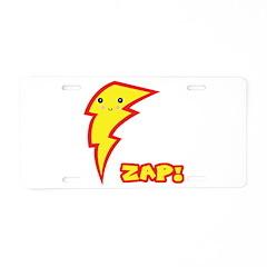 Cute Zap Comic Lightning Bolt Aluminum License Pla