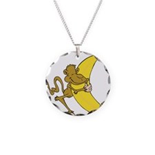 Silly Monkey Hugging Banana Necklace