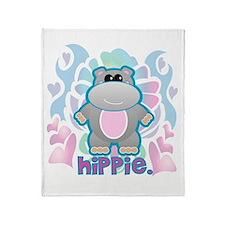 Retro Hippie Hippo Throw Blanket