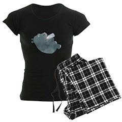 Baby Hippo with Bottle Women's Dark Pajamas