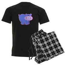 Blue Striped Hippo Pajamas