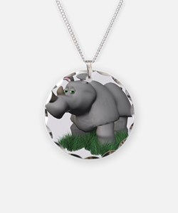3D Rhino in the Grass Necklace Circle Charm