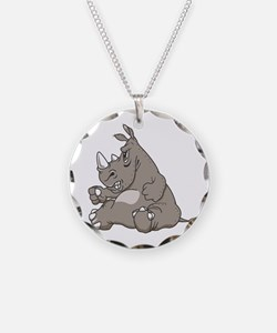 Rhino with an Attitude Necklace Circle Charm