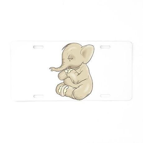 Sad Praying Elephant Aluminum License Plate