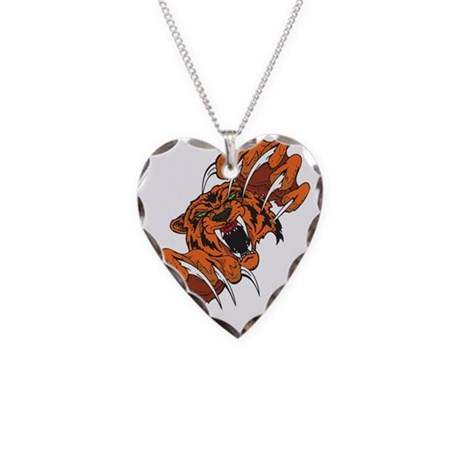 Clawing Ferocious Cougar Necklace Heart Charm