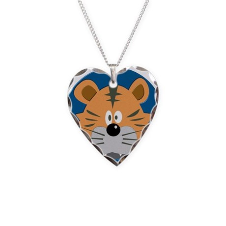 Baby Tiger Necklace Heart Charm
