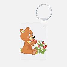 Teddy Bear Eating Strawberrie Keychains