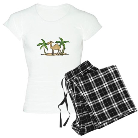 Cute Camel and Palm Trees Des Women's Light Pajama