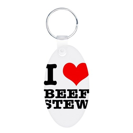 I Heart (Love) Beef Stew Aluminum Oval Keychain