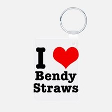 I Heart (Love) Bendy Straws Keychains