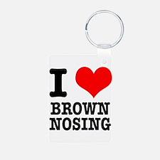 I Heart (Love) Brown Nosing Keychains
