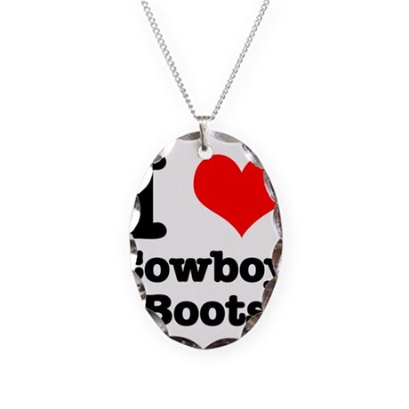 I Heart (Love) Cowboy Boots Necklace Oval Charm