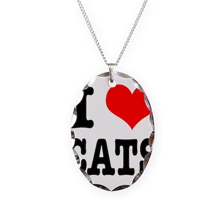 I Heart (Love) Cats Necklace Oval Charm
