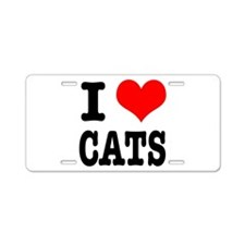 I Heart (Love) Cats Aluminum License Plate