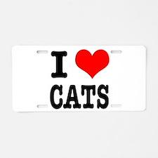 I Heart (Love) Cats Aluminum License Plate
