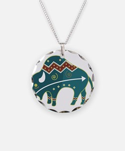 Native Buffalo Design Necklace Circle Charm