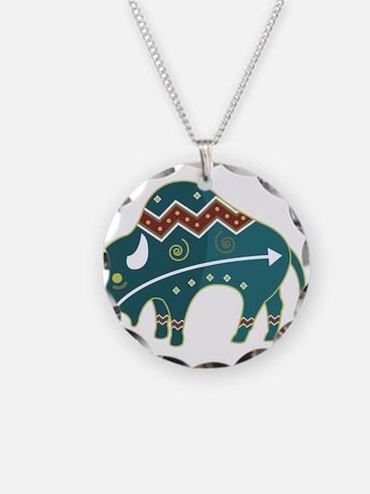 Native Buffalo Design Necklace Circle Charm