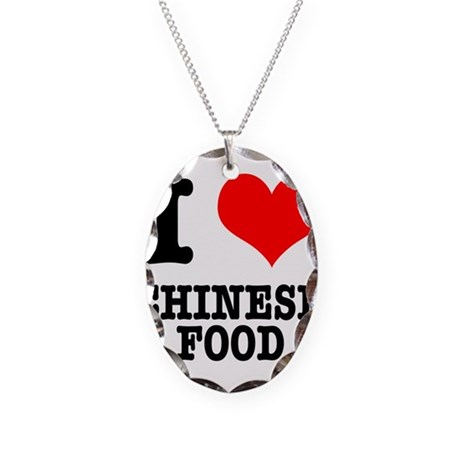 I Heart (Love) Chinese Food Necklace Oval Charm
