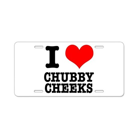 I Heart (Love) Chubby Cheeks Aluminum License Plat