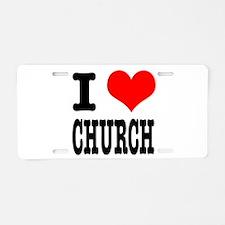 I Heart (Love) Church Aluminum License Plate