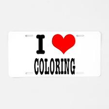 I Heart (Love) Coloring Aluminum License Plate