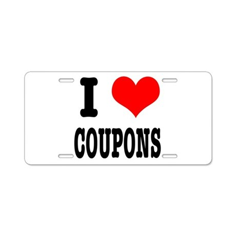 I Heart (Love) Coupons Aluminum License Plate