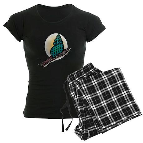 Pretty Turquoise Snail Women's Dark Pajamas