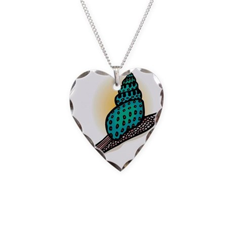 Pretty Turquoise Snail Necklace Heart Charm