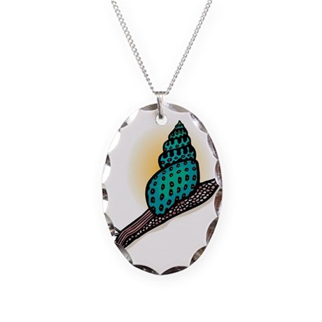 Pretty Turquoise Snail Necklace Oval Charm