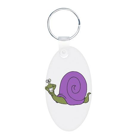 Happy Goofy Snail Aluminum Oval Keychain