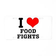 I Heart (Love) Food Fights Aluminum License Plate