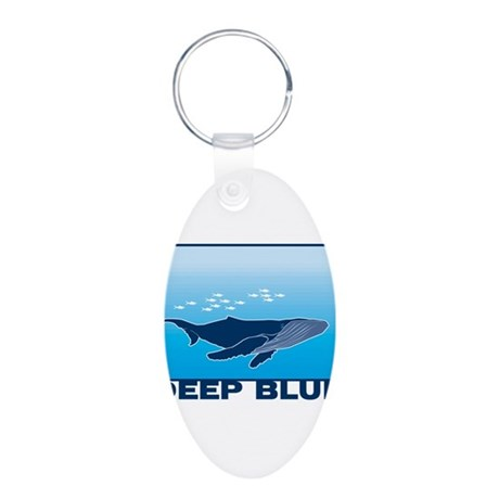 Deep Blue Sea Whale Design Aluminum Oval Keychain