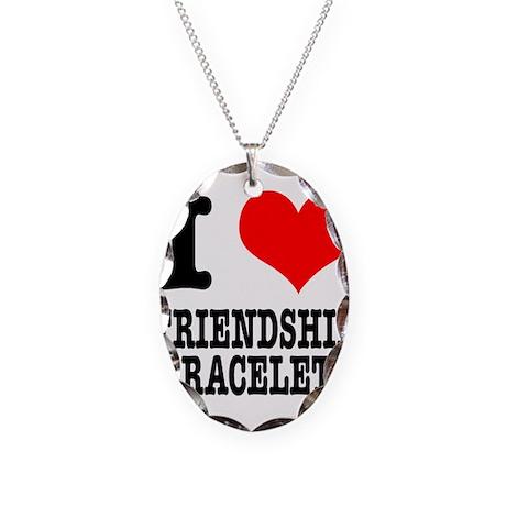 I Heart (Love) Friendship Bra Necklace Oval Charm