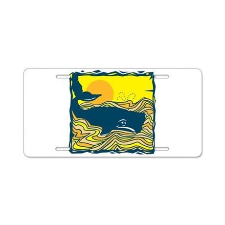 Swimming in Waves Whale Desig Aluminum License Pla