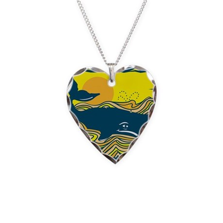 Swimming in Waves Whale Desig Necklace Heart Charm