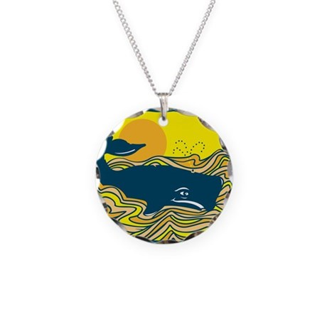 Swimming in Waves Whale Desig Necklace Circle Char